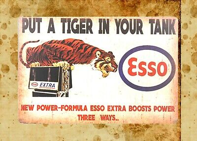 US Seller- reproduction signs Esso put a tiger in your tank gas tin metal sign