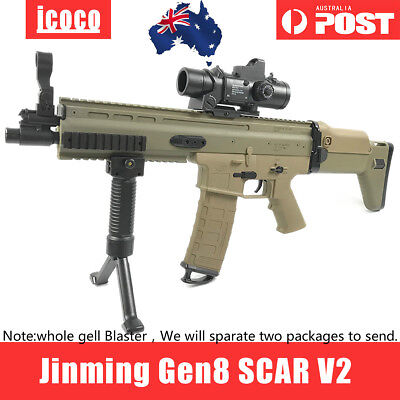 Upgrade Jinming SCAR V2 Gel Ball Blaster Toy Water Bullets Mag-fed Adult Size