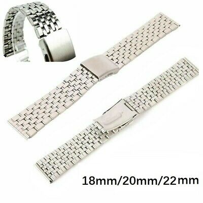 Stainless Steel Men Metal Watch Bracelet Band Clasp Watch Band Watch Strap 18-22