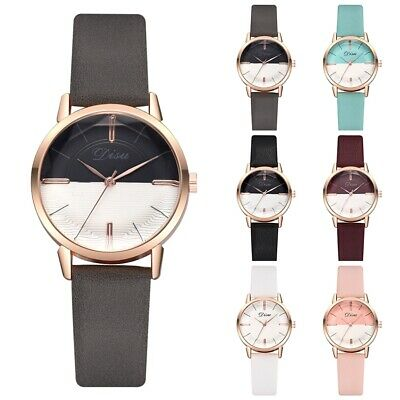 Girl Fashionable Women Lady PU Leather Band Casual Watch Round Quartz Wristwatch