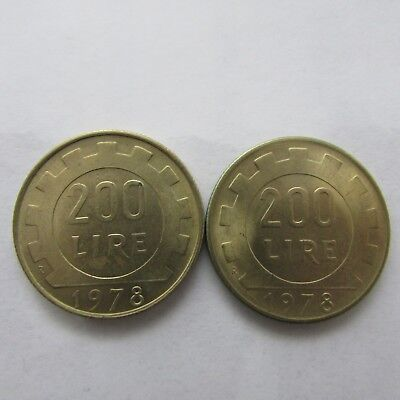 2 x Italy Coins 200 Lire 1978
