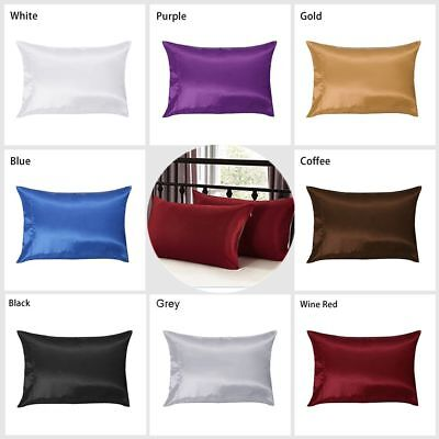 2Pcs Queen Standard Mulberry Silk Pillow Case Pillowcase Covers Housewife