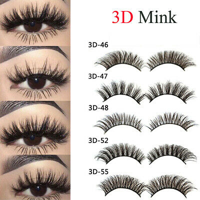 US 3D Mink Fake Eyelashes Natural Wispy Cross False Lashes Makeup 5 Pairs