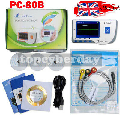 5V Handheld ECG Monitor EKG Color Patient+Lead Cable +Electrode Pads PC-80B UK