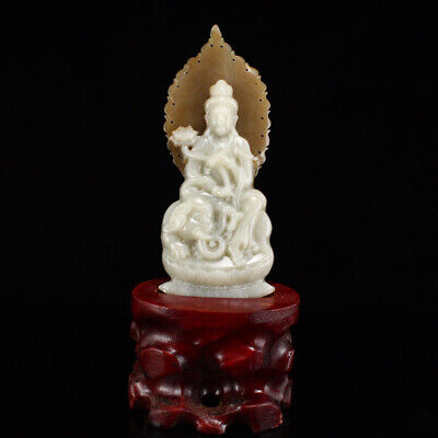 "6"" Certified China 100% Natural Nephrite hetian jade handcarved guanyin statue"