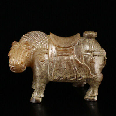 """3"""" China old antique Natural hetian jade hand carved Horse Figurine statue"""