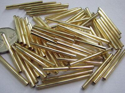 100pcs 30 mm Extra Long Silver Lined Gold Twisted Tchèque Bugle Perles PRECIOSA