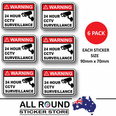 Warning Stickers Security camera surveillance warning-CCTV  6-pack