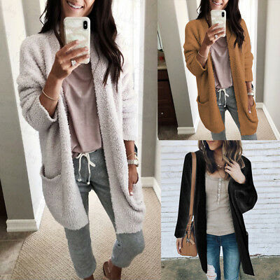 AU Women Winter Baggy Cardigan Coat Long Chunky Knitted Oversized Sweater Jumper