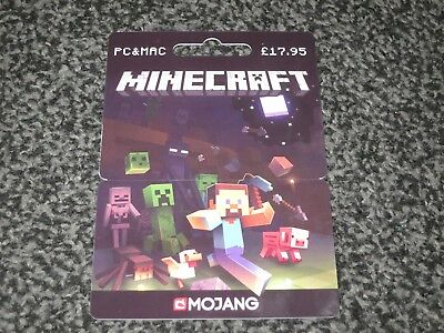 Mindcraft Pc & Mac Plastic Empty Gift Card/voucher Collectable