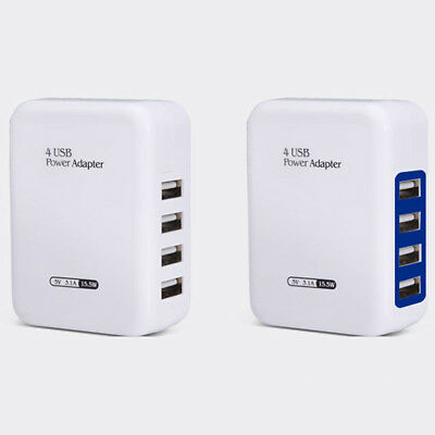 Quick Charge 3.0 4-Port USB 5V 3A Phone Wall Home Travel Fast Charger Adapter