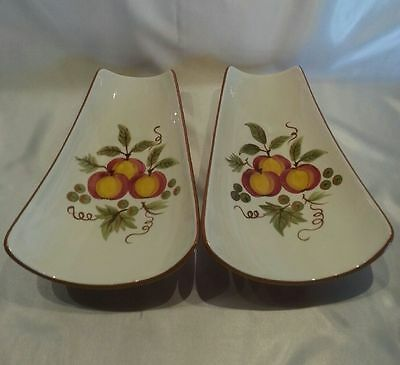 Vintage Stangl Pottery Apple Delight Lot of Two (2) Serving Trays Relish Dishes