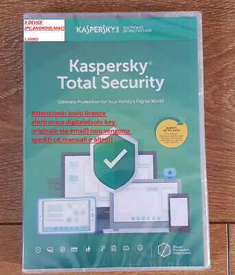Antivirus Kaspersky Total Security 2019 5 Device(Pc/Mac/Android) 1 ANNO LICENZA