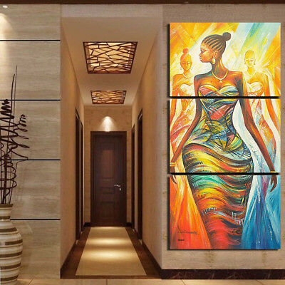 HK- Unframed 3Pcs Abstract African Woman Wall Canvas Painting Art Home Decor New