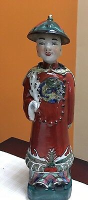 Antique Chinese Dynasty Emperor Prince Statue Figurine Porcelain marked bottom