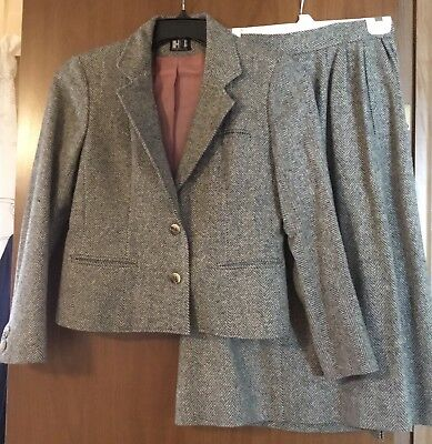 Vintage Harve Bernard Women's Grey Herringbone Lined Wool Skirt Suit Sz 8