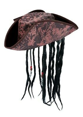 Pirate Tricorn Hat Fancy Dress Caribbean Jack Sparrow Hook Marabou Red Feather