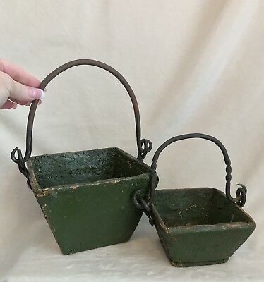 Antique Chinese SET/2 Wood Iron Handled Rice Grain Measure Berry Buckets, GREEN