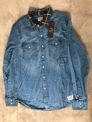 Levis X Justin Timberlake Mens Denim Shirt Flannel Collar Fresh Leaves NEW