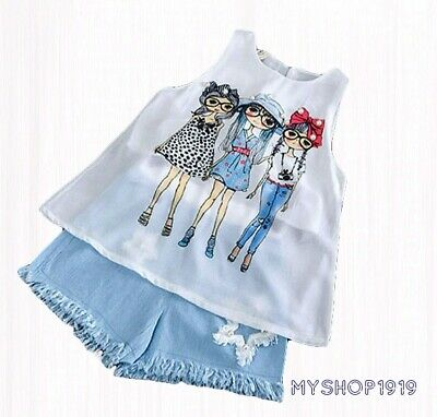 Girls set 2 pcs Top Shorts sets Sleeveless Outfit Summer Set Age 2 3 4 5 6 7 8 y