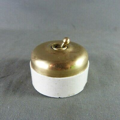 French Antique Electric Brass & Porcelain Light Switch Toggle by Lux