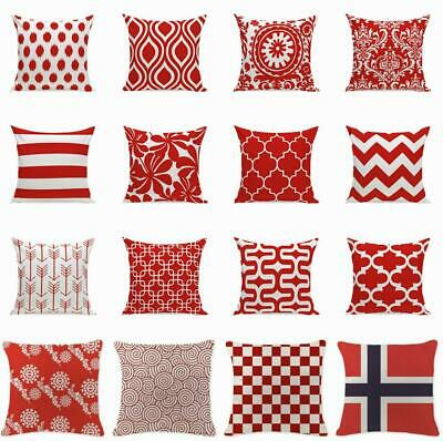 Simple Red Geometric Wave Cushion Cover Throw Pillow Case Sofa Car Home Decor