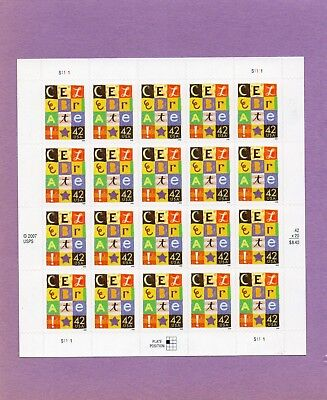 U.S. COMM PANE OF 20 SCOTT#4335 2008 42ct CELEBRATE MNH P#S1111