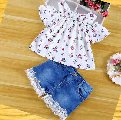 Girls set 2 pcs Top Shorts sets off shoulders Outfit Summer Set Age 1 2 3 4 5 yr