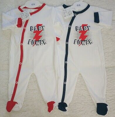 Cotton Prem BABY BOYS Girls Blue Red Babygrow Bodysuit Sleepsuit Rompersuit New