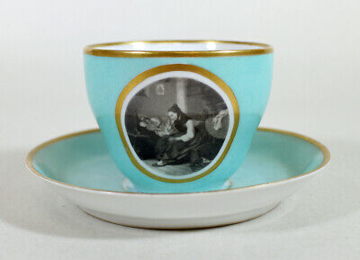 1800s Rare KPM Scenic Tea Cup & Saucer * Germany Scene Child in Bed with Mother
