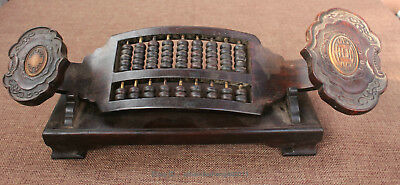 Chinese antique rosewood hand carved ancient Wishful abacus statue sculpture