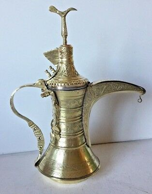 34 cm NIZWA Style Antique Dallah islamic art Coffee Pot Bedouin pattern brass