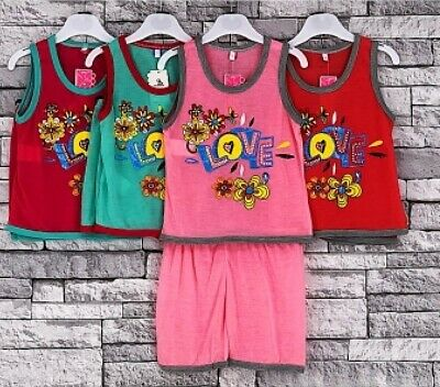 Girls Kids Summer Vest Top Short Sleeveless Set Outfit Dance New Age 2-6 Years