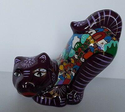 "Mexican Folk Art Talavera ? Glazed Pottery Ceramic Large Cat Coin Bank 6""x7"""