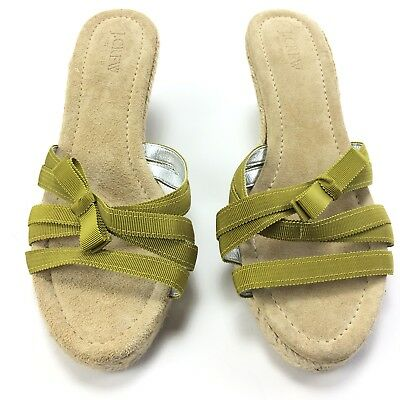 b2608b57d0a J Crew Womens Green Grosgrain Ribbon Espadrille Wedges Slip On Size 9 NEW