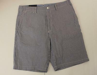 Polo Ralph Lauren Men's Classic Fit Seersucker Shorts Size 36 T Tall Blue White