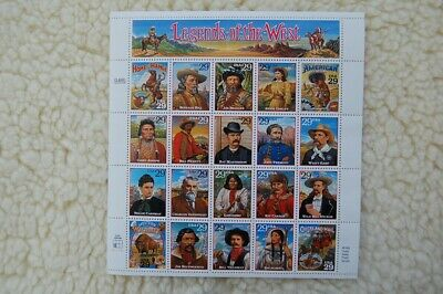 Legends of the West 29c Stamps Full Mint Sheet Sc#2869a-t 10/18/1994  Wyatt Earp