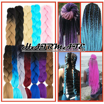 "1-3-5Bundles 24"" Ombre Xpression Jumbo Crochet Braiding Braid Hair Extensions HM"