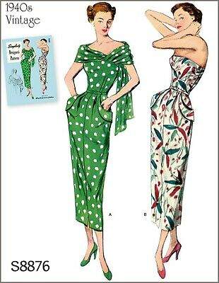 S8876 Simplicity Designer's Sewing Pattern Vintage 1940's Dress Stole Sz 10-18