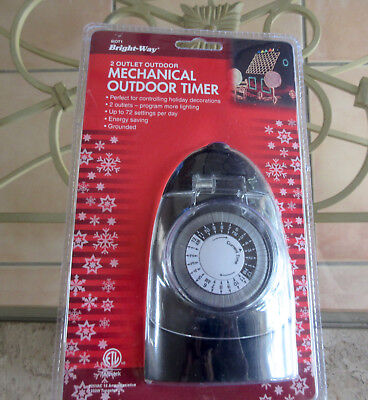 Outdoor Mechanical Light Timer 24 Hour Programmable Plug-in Heavy Duty/ 2 Outlet