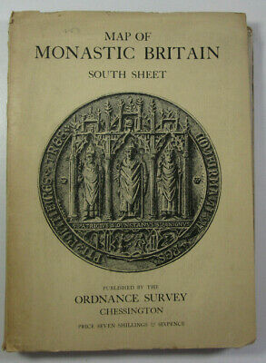 1950 Old Vintage OS Ordnance Survey Map of Monastic Britain South Sheet