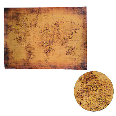 Large vintage style retro paper poster globe old world map gifts 72.5x51.HV