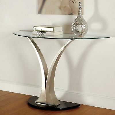 Modern Satin Plated Glass Top Living Room Foyer Console Sofa Table - SILVER