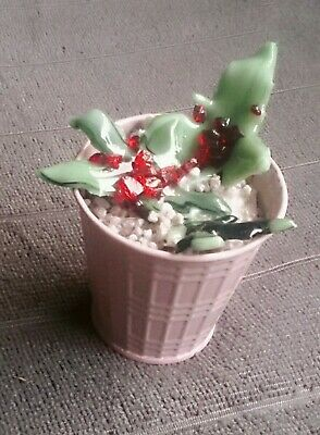 Fused glass succulent plant in a 7cm pink metal pot, handmade individual