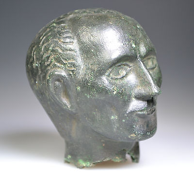 Roman Bronze Head of Emperor Julius Caesar Fragment