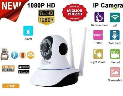 Telecamera Ip Cam Wifi Hd 1080P Wireless Led 2 Antenne 2Mp Ir Motorizza