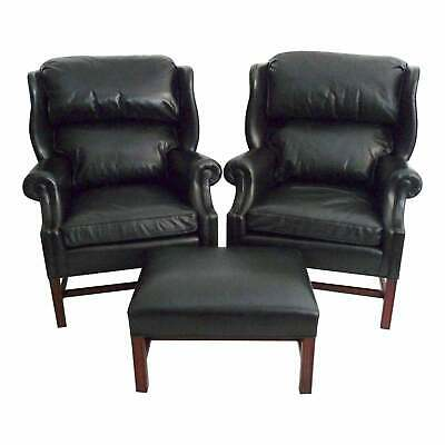 Hancock & Moore, Two Wing Chair and Ottoman Set