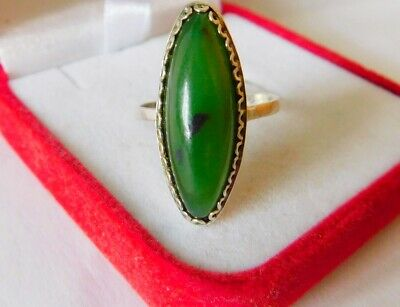 Vintage USSR Beautiful Ring With NEPHRITE Silver 875 Soviet Antique Size 7.5
