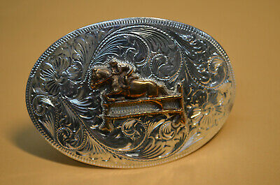 FLEMING Sterling Hand-Engraved Floral Cowgirl Belt Buckle w/ HORSE JUMPING SCENE