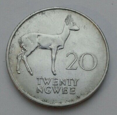 Zambia 25 Ngwee 1992 The Toucan hornbill bird 20mm  Steel Coin UNC